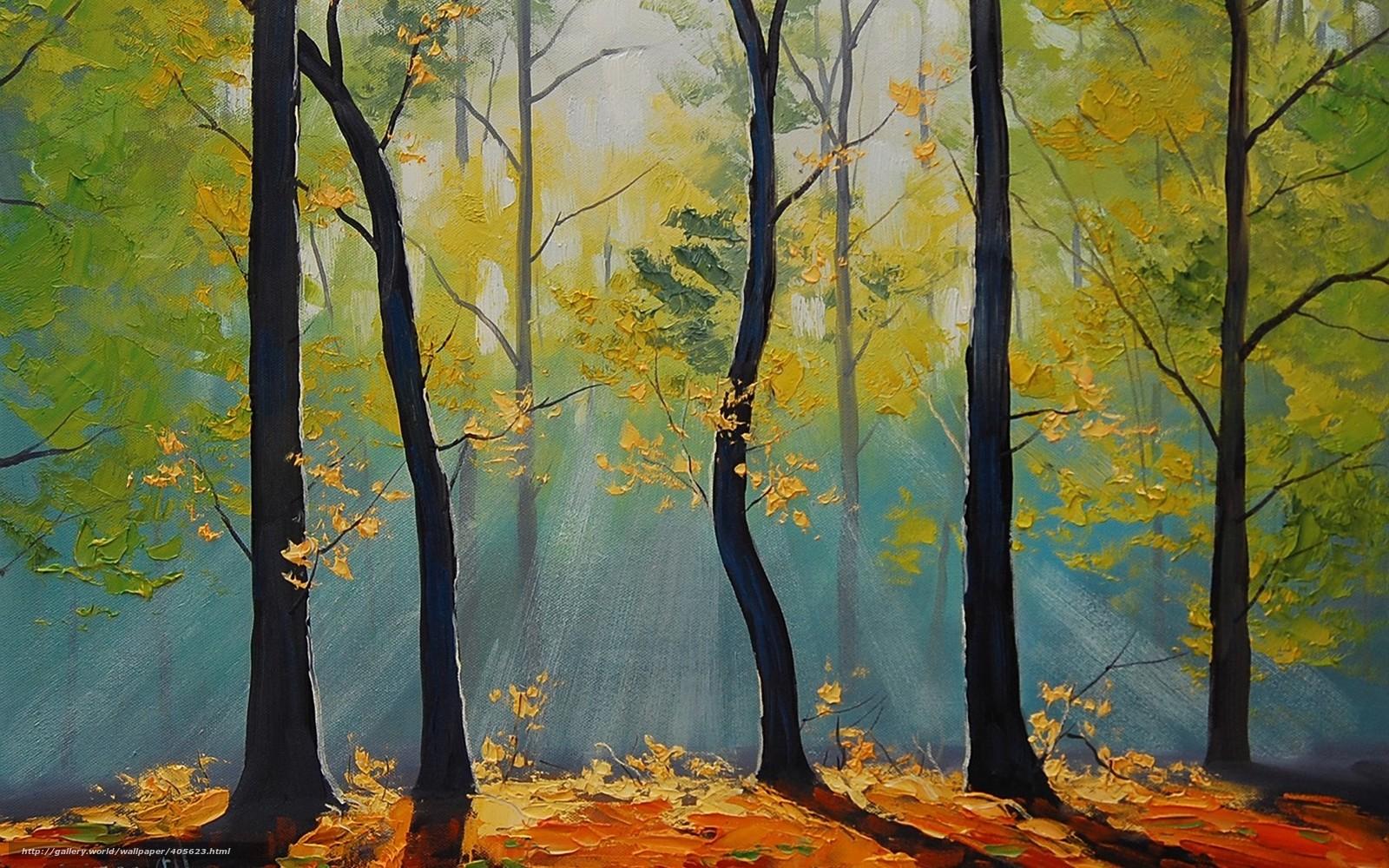Картинки осеннего леса красками